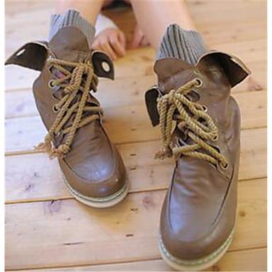 Damen Schuhe PU Herbst Komfort Stiefel Für Normal Schwarz Braun