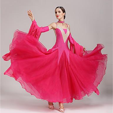 ボールルームダンス ドレス 女性用 性能 ポリエステル スパンデックス クリスタル / ラインストーン ノースリーブ ドレス スリーブ Neckwear