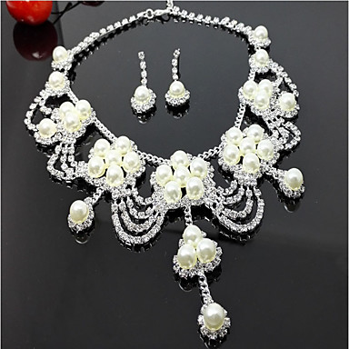 Women's Layered Jewelry Set - Imitation Pearl Flower Multi Layer Include Drop Earrings Necklace White For Wedding Party Birthday