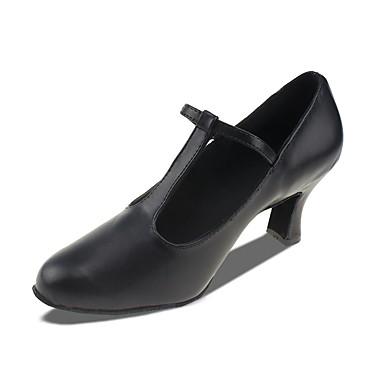 Női Modern cipők Bőr / Vászon Magassarkúk Vaskosabb sarok Személyre szabható Dance Shoes Fekete / Teljesítmény