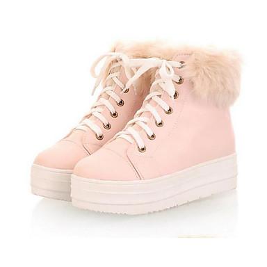 Damen Schuhe PU Herbst Winter Komfort Flache Schuhe Für Normal Weiß Beige Leicht Rosa