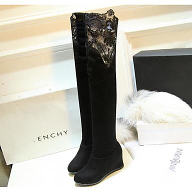 Damen Schuhe Stoff Herbst Winter Komfort Stiefel Für Normal Schwarz Rot