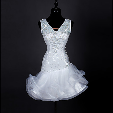 Latin Dance Dresses Women's Performance Spandex / Pearl / Organza Crystals / Rhinestones Sleeveless High Dress
