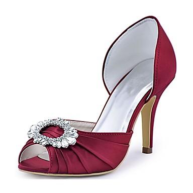 Damen Schuhe Stretch - Satin Frühling Sommer Pumps Hochzeit Schuhe Stöckelabsatz Peep Toe Kristall für Hochzeit Party & Festivität