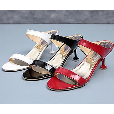 Damen Schuhe PU Sommer Komfort Sandalen Stöckelabsatz Runde Zehe Kombination für Normal Weiß / Schwarz / Rot