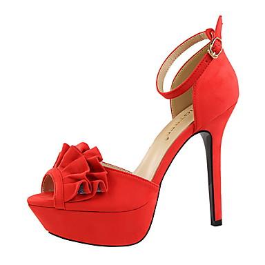 Damen Schuhe Wildleder Herbst Komfort High Heels Stöckelabsatz Peep Toe Schnalle Schwarz / Rot / Leicht Rosa / Kleid