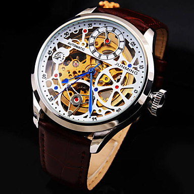 Men's Skeleton Watch / Mechanical Watch Hollow Engraving / Water Resistant Genuine Leather Band Luxury / Automatic self-winding
