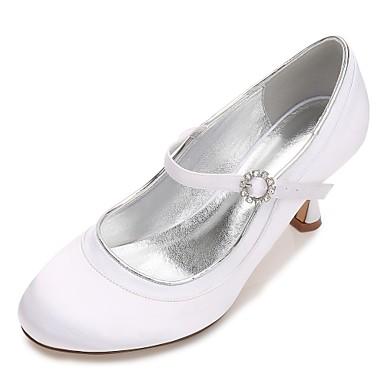 Women's Shoes Satin Spring / Summer Comfort / Mary Jane / Basic Pump Wedding Shoes Kitten Heel / Low Heel / Stiletto Heel Round Toe