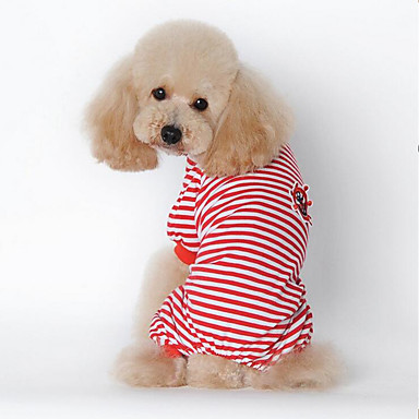 Dog Pajamas Dog Clothes Stripe Black / Red / Blue Cotton Costume For Pets Summer Men's / Women's Casual / Daily