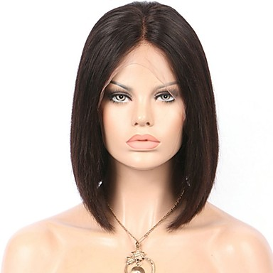 Human Hair Glueless Lace Front / Lace Front Wig Straight Wig 130% Natural Hairline / African American Wig / 100% Hand Tied Women's Short / Medium Length Human Hair Lace Wig