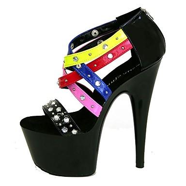 Női Cipő PU Nyár Formai cipő Szandálok Tűsarok Köröm Szegecs / Csat / Fűző mert Ruha / Party és Estélyi Fekete / Piros