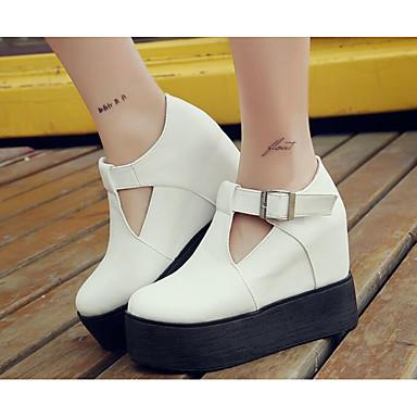 Damen Schuhe PU Herbst Komfort High Heels Für Normal Weiß Schwarz Grau Rot