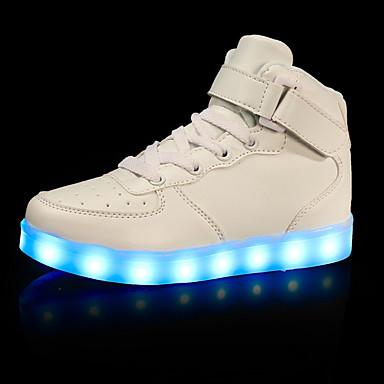 baratos LED Sapatos-Para Meninos Courino Tênis Little Kids (4-7 anos) / Big Kids (7 anos +) Conforto / Tênis com LED Caminhada Colchete / LED Preto / Prata / Vermelho Outono / Inverno / Borracha / EU39