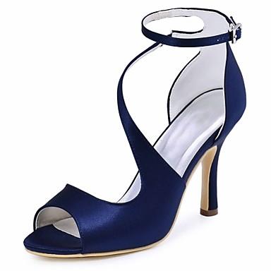 abordables Ofertas Destacadas-Mujer Zapatos de boda Tacón Stiletto Punta abierta Hebilla Tela Elástica Pump Básico Verano Azul Oscuro / Azul / Morado / Boda / Fiesta y Noche / EU41