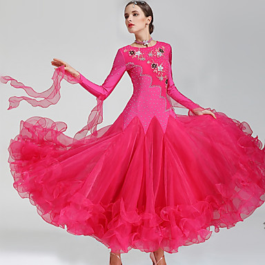 Ballroom Dance Dresses Women's Performance Polyester Spandex Crystals / Rhinestones Long Sleeves Dress Neckwear