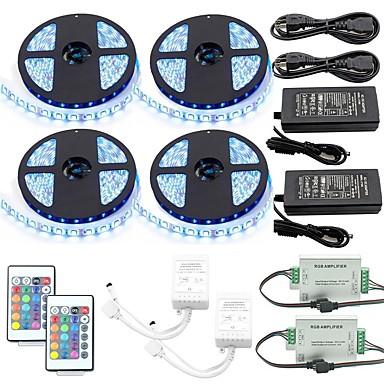 billige LED Strip Lamper-1 sett led strip kit sett vanntett 5050 10mm 20m (4 * 5m) 1200led med2stk 24 nøkkel ir-kontroller og 2stk 6a strømforsyning (ul) med 2pcsrgb signalforsterker repeater