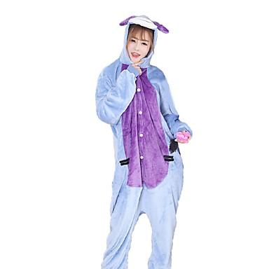 Adults' Kigurumi Pajamas Donkey Onesie Pajamas Costume Flannel Fabric Blue Cosplay For Animal Sleepwear Cartoon Halloween Festival / Holiday / Christmas