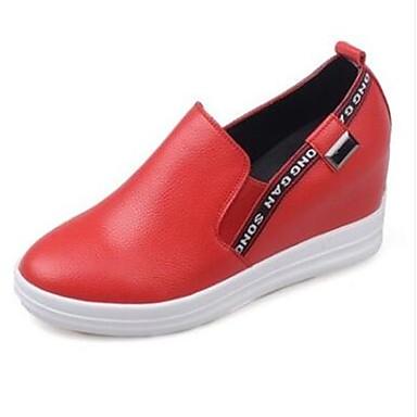 Damen Schuhe PU Herbst Komfort Loafers & Slip-Ons Für Normal Weiß Schwarz Rot
