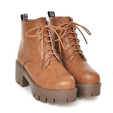 Damen Schuhe PU Nubukleder Herbst Winter Komfort Stiefel für Normal Schwarz Grau Gelb