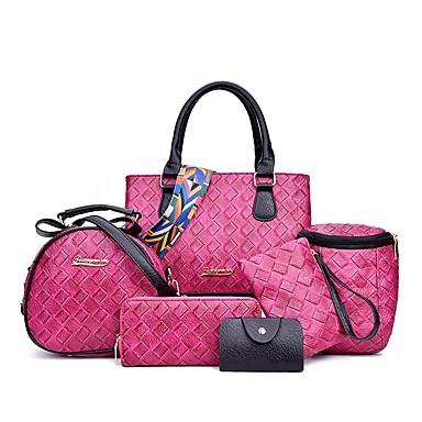 Damen Taschen PU Bag Set 6 Stück Geldbörse Set für Normal Ganzjährig Blau Schwarz Rote Rosa Grau