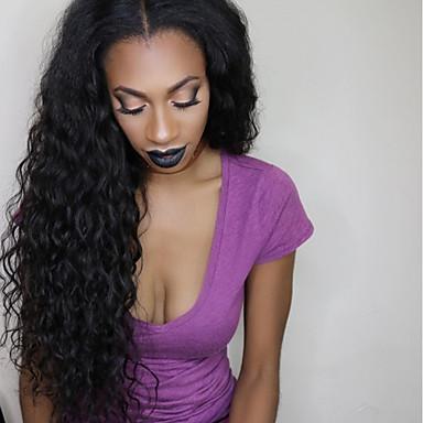Remy haj Csipke Paróka Hullámos / Hullám 180% Sűrűség Természetes hajszálvonal / Afro-amerikai paróka / 100% kézi csomózású Közepes /