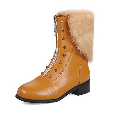 Women's Shoes Leatherette Fall Winter Fashion Boots Combat Boots Toe Boots Chunky Heel Round Toe Boots Mid-Calf Boots Rivet Zipper For Casual Party 6c5af3