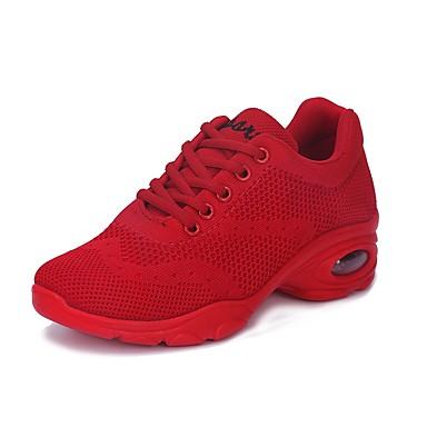 Női Tánccipők Lélegző háló Sportcipő Alacsony Dance Shoes Fehér / Fekete / Piros