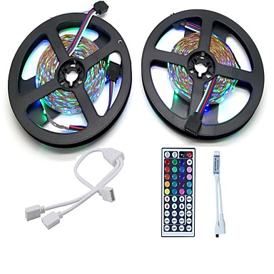 10m Light Sets 600 LEDs 3528 SMD RGB Remote Control / RC / Cuttable / Dimmable 12 V 1set / Linkable / Self-adhesive / Color-Changing / IP44