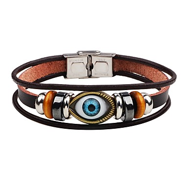 Men's Leather Bracelet - Leather Evil Eye Punk Bracelet Brown For Stage / Street