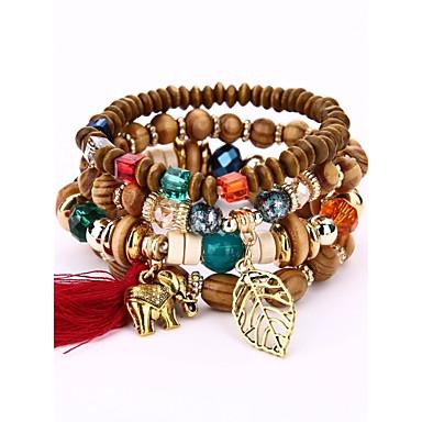 abordables Bracelet-Bracelet à Perles Bracelets Plusieurs Tours Bracelets de mémoire Homme Femme En bois Bois Mode Bracelet Bijoux Beige Café Rouge Irrégulier pour Soirée Scène