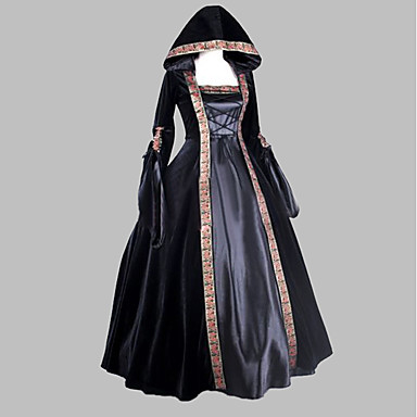 Medieval / Renaissance Costume Women's Dress / Party Costume / Masquerade Black Vintage Cosplay Satin Sleeveless Knee Length / Floor Length Halloween Costumes