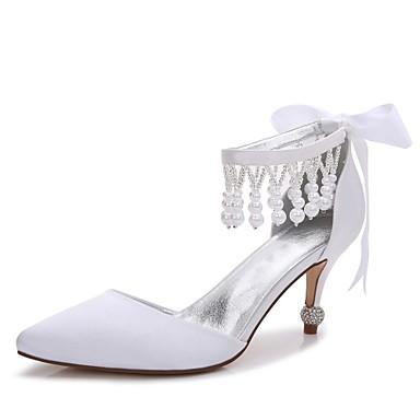 Női Cipő Szatén Tavasz / Nyár Kényelmes / D'Orsay és kétrészes / Magasított talpú Esküvői cipők Cicasarok / Magas / Alacsony Erősített