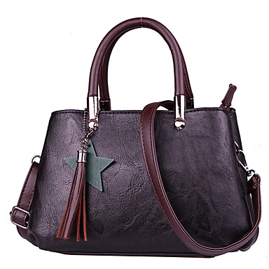 Women's Bags PU(Polyurethane) Tote Zipper Gray / Brown / Dark Red