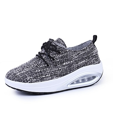 Women's Shoes Fabric Spring / Fall Comfort Athletic Shoes Walking Shoes Platform Round Toe Lace-up Black / Gray
