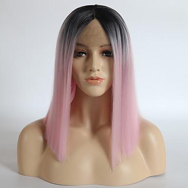 Szintetikus csipke front parókák Egyenes Bob frizura Szintetikus haj Ombre haj / Középső rész Pink Paróka Női Közepes Természetes paróka