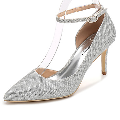 Women's Shoes Glitter Spring / Fall Basic Pump / Ankle Strap Wedding Shoes Stiletto Heel Pointed Toe Gold / Silver / Party & Evening