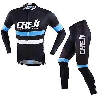 cheji® Men's Long Sleeves Cycling Jersey with Tights Bike Clothing Suits, Quick Dry