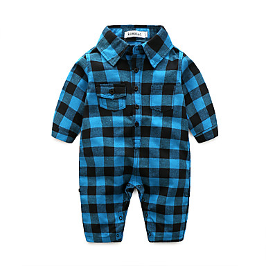 Baby Boys' Plaid One-Pieces, 100% Cotton Autumn/Fall Check Long Sleeves Blue Red Light Blue