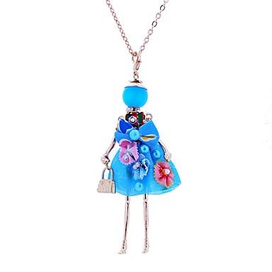 levne Dámské šperky-Dámské Náhrdelníky s přívěšky Dlouhé Princezna dámy Krajka Slitina Béžová Tmavomodrá Červená Náhrdelníky Šperky Pro Párty Podium