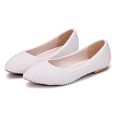 Women's Shoes PU(Polyurethane) Spring / Fall Comfort / Novelty Wedding Shoes Flat Heel Pointed Toe Pearl White / Party & Evening