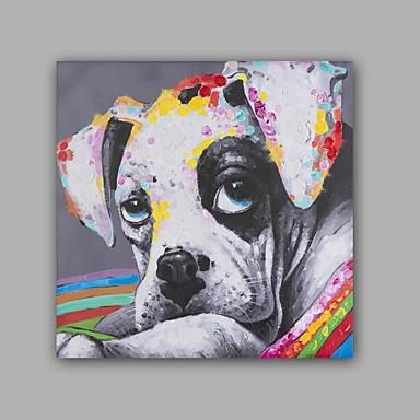 Hang festett olajfestmény Kézzel festett - Állatok Előírásos Művészeti stílus Művészi Vászon