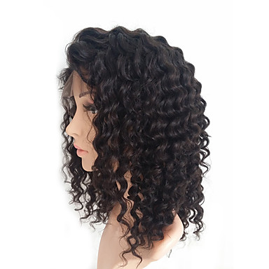 Human Hair Lace Front Wig Brazilian Hair Kinky Curly Wig 130% African American Wig / 100% Hand Tied Women's Medium Length Human Hair Lace Wig
