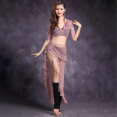 Belly Dance Outfits Women's Performance Tulle Ruffles Half Sleeves Natural Skirts Top