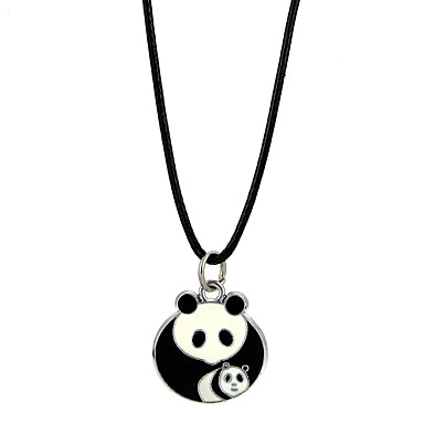 Geometric Pendant Necklace - Panda, Animal Black Necklace For Christmas, Party