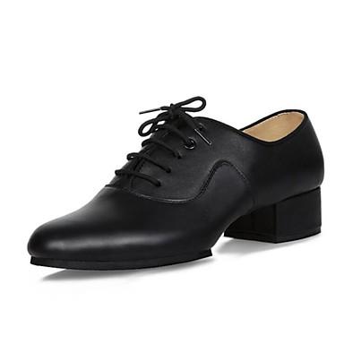 Férfi Latin cipők Bőr Félcipő Vaskosabb sarok Dance Shoes Fekete / Otthoni