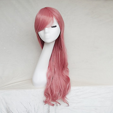 Synthetic Wig Wavy Pink Asymmetrical Haircut / With Bangs Synthetic Hair Natural Hairline Pink Wig Women's Long Capless