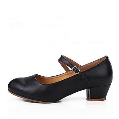 baratos Shall We® Sapatos de Dança-Mulheres Pele Sapatos de Dança Moderna Salto Salto Personalizado Personalizável Preto