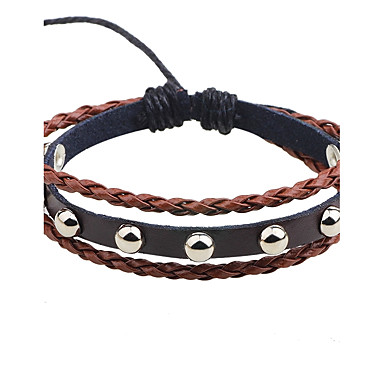 Men's Leather Bracelet Adjustable Rock Leather Alloy Round Jewelry Casual Stage