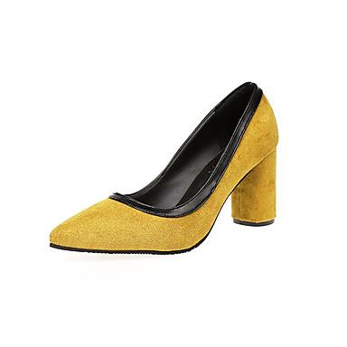 Damen Schuhe PU Sommer Komfort Sandalen Walking Blockabsatz Offene Spitze Kombination Für Normal Schwarz Grau Gelb Grün