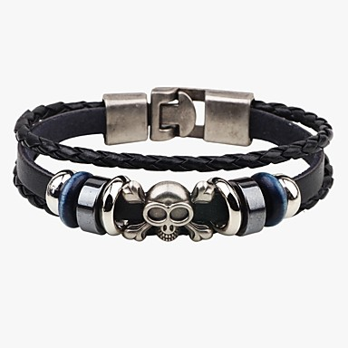 Men's Leather Bracelet - Leather Skull Punk Bracelet Black / Coffee For Street Going out